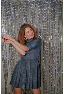 Нарядное платье колокольчик синего цвета