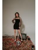 Платье с рукавами сеткой черного цвета в горошек