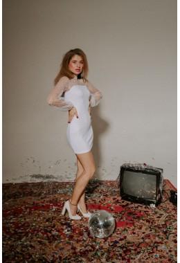 Платье с рукавами сеткой белого цвета