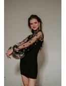 Платье с рукавами сеткой черного цвета