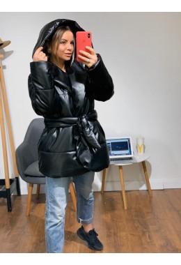 Укороченная черная куртка палатка из эко-кожи