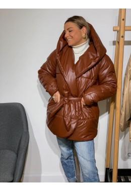 Укороченная рыжая куртка палатка из эко-кожи