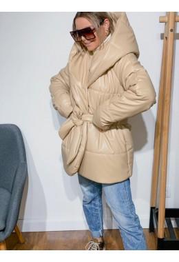 Укороченная бежевая  куртка палатка из эко-кожи