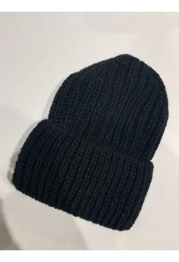 Теплая вязанная шапка черная №1