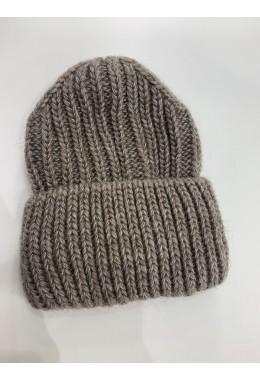 Теплая вязанная шапка коричневая №7