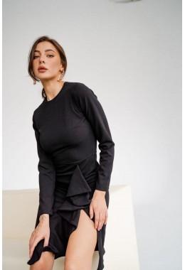 Элегантное платье с рюшей черного цвета