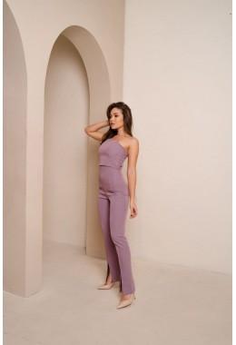 Стильные брюки с высокой посадкой лавандового цвета