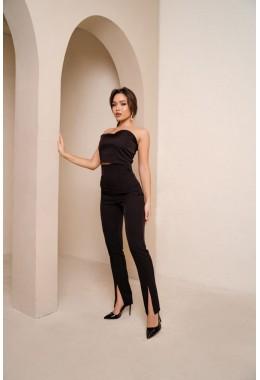 Стильные брюки с высокой посадкой черного цвета
