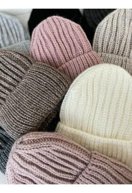 Теплая вязанная шапка графит №2