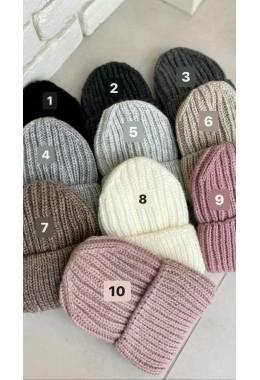 Теплая вязанная шапка светло- серая №5