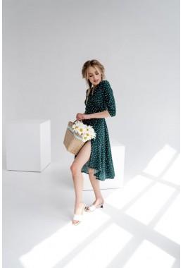 Платье-халат на запах зеленое в частый горох