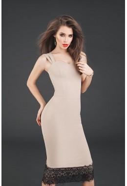 Изящное платье-футляр бежевое
