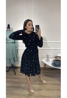 Милое платье в горошек черного цвета