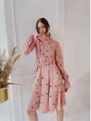 Милое платье в горошек  цвета пудра
