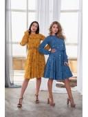 Милое платье в горошек голубого цвета
