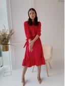 Стильное весеннее платье красного цвета