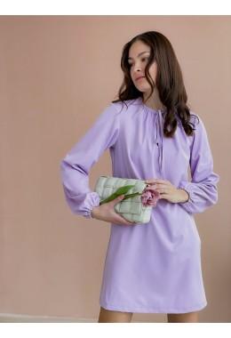 Оригинальное платье со сборками лавандового цвета