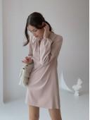 Оригинальное платье со сборками бежевого цвета