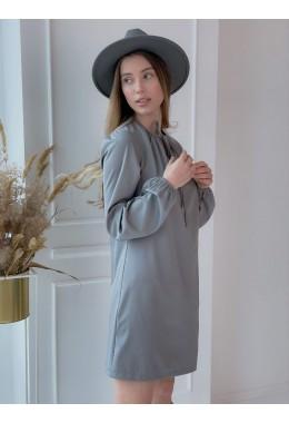 Оригинальное платье со сборками серого цвета