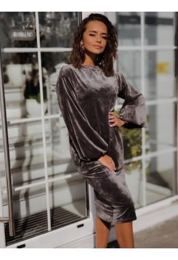 Велюровое платье серое