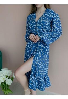 Платье цветочное джинсового цвета