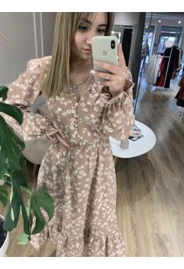 Платье цветочное бежевого цвета