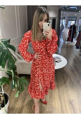 Платье цветочное красного цвета