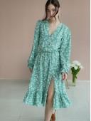 Платье цветочное мятного цвета