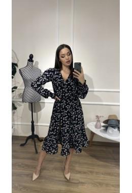 Платье цветочное черного цвета