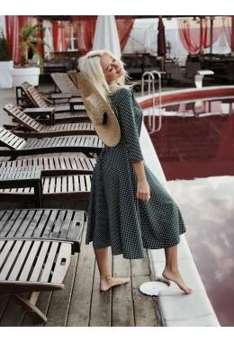 Романтическое платье на запах в мелкий горошек