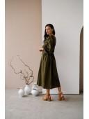 Длинное платье в пол цвета хаки