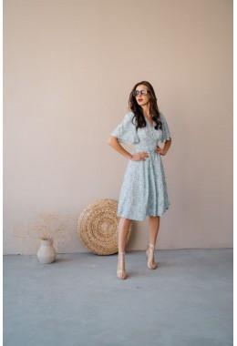 Принтованое шикарное платье голубого цвета