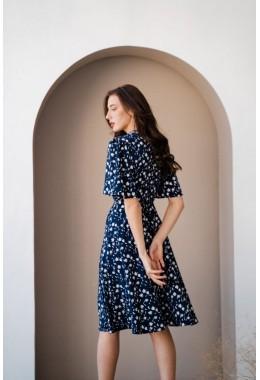 Принтованое шикарное платье синего цвета