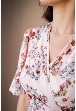 Принтованое шикарное платье пудрового цвета