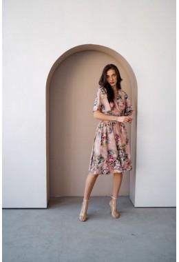 Принтованое шикарное платье розового цвета