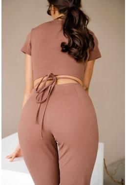 Модные лосины с разрезами шоколадные