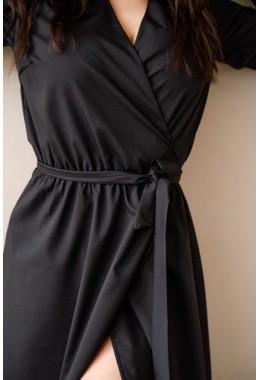 Платье на запах миди длины черное