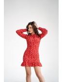 Платье с рюшей красное