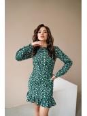 Платье с рюшей зеленое
