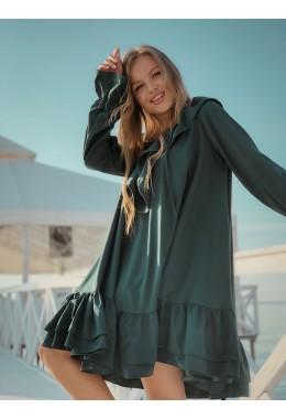 Платье с оборками свободного кроя цвета бутылка