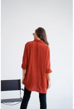 Рубашка oversize кирпичная