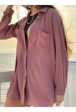 Рубашка oversize пудровая