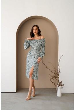 Цветочное платье с разрезом мятного цвета