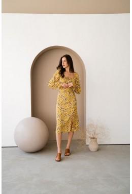 Цветочное платье с разрезом желтого цвета