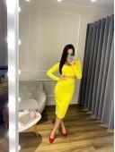 Юбочный костюм желтого цвета