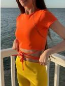 Ультрамодный топ на завязках оранжевый