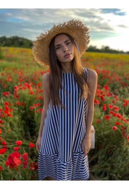 Стильное летнее платье без рукавов в черную  полоску