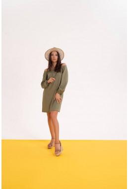 Льняное летнее платье цвета хаки
