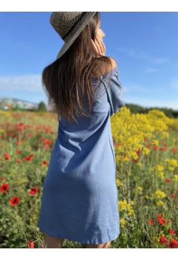 Льняное летнее платье джинсового цвета