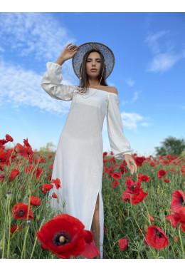 Льняное платье с длинным рукавом белого цвета